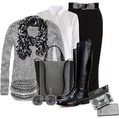 """outfit"" by mkomorowski on Polyvore. Grey, white button down, black skirts & boots"