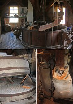 So wird aus Korn Mehl – ab in den Trichter, zwischen ordentlich schwere Steine und dann eine Etage tiefer direkt in den Sack.