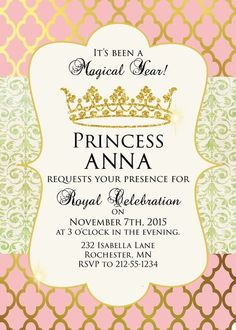 Pink and Gold Princess Birthday Party Invitation | Sugar and Spice Invitations