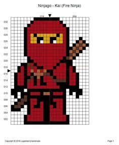 Bead Embroidery Patterns, Hama Beads Patterns, Weaving Patterns, Cross Stitch Embroidery, Bracelet Patterns, Crochet Patterns, Ninja Lego, Lego Ninjago, Ninjago Kai
