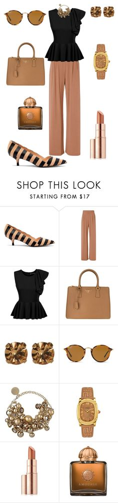 """""""Clean Lines"""" by denise-grimes ❤ liked on Polyvore featuring Sole Society, Fleur du Mal, Prada, Loren Hope, Ray-Ban, Elie Saab, Versace, Estée Lauder and AMOUAGE"""