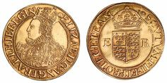 Elizabeth I A sixth issue, half pound gold coin (1558- 1603)  Obverse: a crowned bust with a lot of long flowing hair and crown which reaches right to the edge of the coin. - Reverse: a a crowned shield with the letters E and R.
