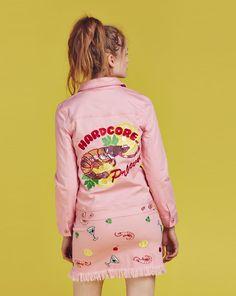 Eat Me Do Embroidered Hardcore Prawn Sequin Denim Jacket