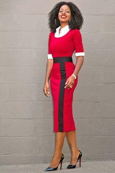 Button Down Shirt + Contrast Midi Dress