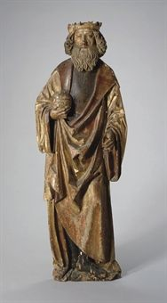 carved giltwood and polychrome-decorated figure of a King