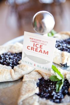 Blueberry dessert at the wedding shoot: Inspiration: Classic Maine Made Modern. Stationery by Erin Flett. Photography by Geneve Hoffman. Lobster Pound, Lobster Bake, Blueberry Galette, Blueberry Desserts, Vanilla Ice Cream, Holiday Parties, Maine, Treats, Classic