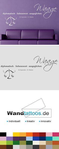 """Wandtattoo Sternzeichen """"Waage"""" als Idee zur individuellen Wandgestaltung. Einfach Lieblingsfarbe und Größe auswählen. Weitere kreative Anregungen von Wandtattoos.de hier entdecken!"""