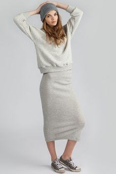 Step Skirt by Canadian eco-fashion label Pillar. Midi length stretchy skirt available in grey. Ethically made in Vancouver, Canada. Capsule Wardrobe Essentials, Midi Length Skirts, Fashion Labels, French Terry, Kicks, Scoop Neck, Wonderland, Sweatshirts, Brainstorm