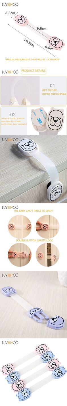 4Pcs New Double Button Baby Safety Lock Plastic Locks Kids Cabinet Door Drawers Refrigerator Toilet Lock Anti-Pinch Hand Protect