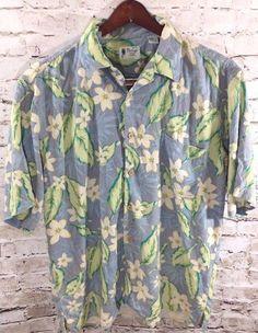 VINTAGE SILK BRAND Hawaiian Camp Shirt Sz XL 100% Silk Button Front Blue Floral #VintageSilk #Hawaiian