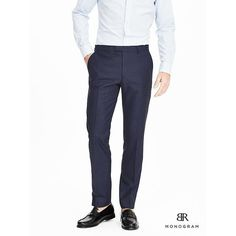 Banana Republic Mens Monogram Navy Wool Silk Linen Suit Trouser ($198) ❤ liked on Polyvore featuring men's fashion, men's clothing, men's pants, men's dress pants, navy, mens navy blue dress pants, mens wool pants, old navy mens pants, mens zip off pants and mens 5 pocket pants