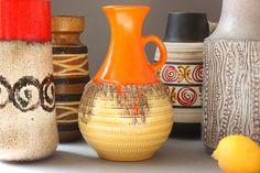 Jasba Fat Lava vase ceramic vintage, orange yellow bulbous, West Germany Boho Hippie home decor 60s 70s, gift wife her girlfriend friend by wohnraumformer