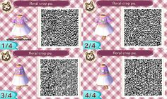 ACNL QR CODE-Purple Floral Crop with White Skirt