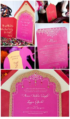 southern friend paper's bollywood wedding suite ~~Decor for table decorations~sb Bollywood Party, Bollywood Wedding, Indian Bollywood, Wedding Invitations With Pictures, Indian Wedding Invitations, Wedding Stationary, Indian Party Themes, Indian Theme, Moroccan Party