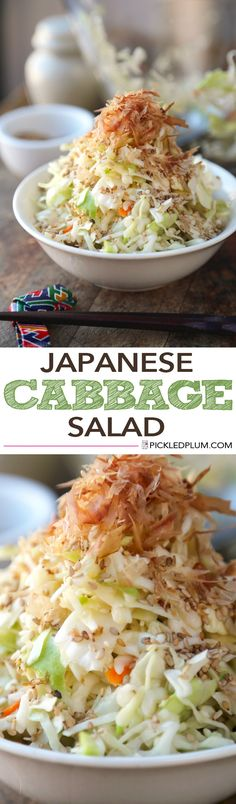 Japanese Cabbage Salad - Takes less than 5 minutes to make! Omit soy sauce for gluten-free http://www.pickledplum.com/japanese-cabbage-salad/