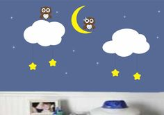 Nursery Owl Wall Decal Boy Girl Baby Stars Moon Vinyl Wall Decor