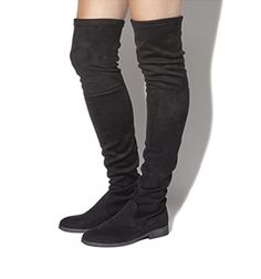 Office Over the knee boots on line store , suede black flat boots.
