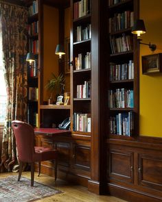 Home Library Rooms, Home Library Design, Home Libraries, House Design, Studio Living, Home Living Room, English Decor, Traditional Interior, Transitional Decor