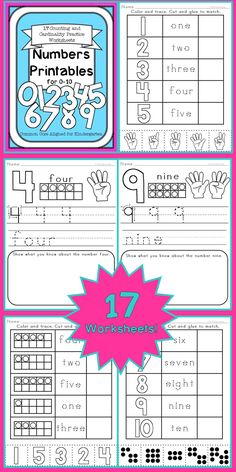 17 Counting and Cardinality, Number Sense, Number Identification, Number Words Worksheets! $