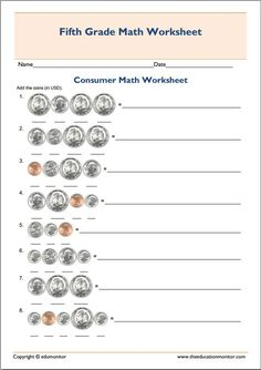 Fifth Grade Math Practice Worksheet Printable  Teaching Ideas