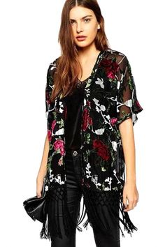 fa48f00966 Vintage Floral Black Chiffon Fringed Kimono Top - OASAP.com