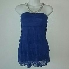 Beautiful Blue Lace Strapless Top Sexy Lace top Electric bright blue lace  By new mode Size medium True to size Wrapped and shipped with care New Mode Tops Tank Tops