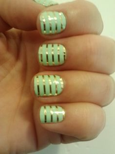 Jamberry nail wraps Mint Green & Gold stripes ♥ these will stay on for 2 weeks