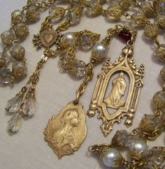 Rosary Handmade Mary Magdalene 8mm Crystals  & Cultured Pearls Antique Bronze