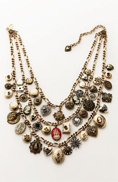 RJ Graziano Three Strand Cameo Charm Necklace