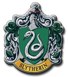 Slytherin crest with Slytherin colors green and silver.