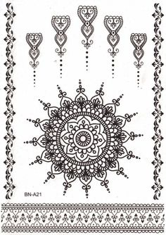 Aponi Black Henna Mandala Temporary Tattoo Mandala Temporary Tattoo Sheet Set at MyBodiArt Mandala Tattoo Design, Lotus Mandala Tattoo, Tattoo Designs, Henna Designs, Boho Designs, Mandala Art, Black Lace Tattoo, Black Henna, White Henna