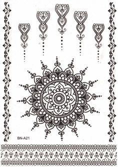 Aponi Black Henna Mandala Temporary Tattoo Mandala Temporary Tattoo Sheet Set at MyBodiArt Mandala Tattoo Design, Lotus Mandala Tattoo, Tattoo Designs, Henna Mandala, Henna Art, Henna Designs, Boho Designs, Mandala Art, Black Lace Tattoo