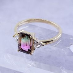 On dark winter days this watermelon tourmaline ring takes me far far away Gems Jewelry, Cute Jewelry, Jewelry Art, Jewelry Design, Jewlery, Most Beautiful Engagement Rings, Perfect Engagement Ring, Diamond Engagement Rings, Tourmaline Ring