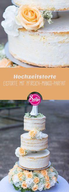 Eine sehr erfrischende, dreistöckige Eistorte mit Wiener Böden und einem Pfirsich-Mango-Parfait für die Hochzeit meiner besten Freundin Nadja.