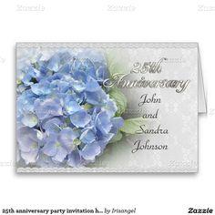 25th anniversary party invitation hydrangeas blue greeting card