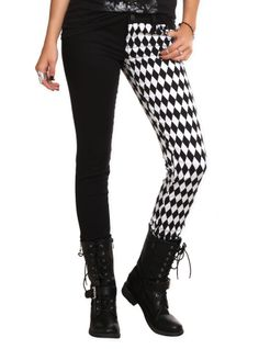 Split leg jeans with the right balance of black & white harlequin print and solid black leg.