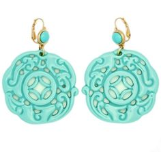 Kenneth Jay Lane Couture Carved Sim. Light Turquoise Cabochon Earrings Pierced