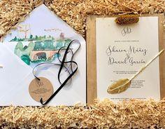 Qué bonitas y elegantes han quedado las invitaciones de Sharon & Daniel, con acuarela de Ciudad Rodrigo – Cristina & Co. wedding planner #weddingideas #ideasparabodas #bodas #wedding