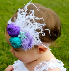 Little Mermaid Birthday Outfit - Under the Sea Birthday Outfit - Purple Birthday Outfit  This couture feather headband is perfect for your next photo shoot! This purple and teal headband is made with shabby chic flowers, a rolled roses, ostrich feathers and a rhinestone starfish! This headband can be worn by anyone from newborns to adults! It can be made in any special colors! Just ask! This romper and headband is the perfect outfit for you mermaid party!! Nylon Headband Size Options…