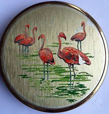 Vintage Mascot Powder Compact Flamingo Design