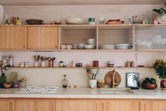 Beautiful, soft and unobtrusive kitchen space open to the living area