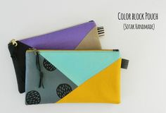 """Hi everyone, I have a fun tutorial for a Color Block pouch for you today. Ready? Here we go.   Finished size: 8"""" wide x 4.5"""" tall Notes: - use 1/4"""" seam allowance unless otherwise noted - light to mi"""