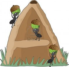 Ants carrying acorns into an anthill in the shape of the letter A Stock Photo