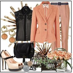 """Peach and Black"" by jacque-reid on Polyvore"