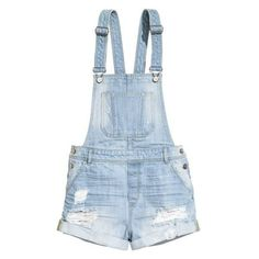 H&M Denim bib shorts ❤ liked on Polyvore featuring overalls, shorts, rompers and bottoms