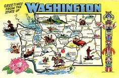 Washington State Map Vintage Chrome Greetings Postcard, $5.00