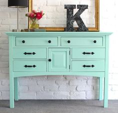 SOLD Mint Green Painted Dresser Buffet/Entry Table Solid by KrisNY