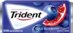 "Trident Gum Wild Blueberry Twist  Sugar Free  ( Box of 12 Packs Each Pack 18 Pieces Total 216 Pieces ) $15.99 ""FREE SHIPPING"" at www.JGUM.net"