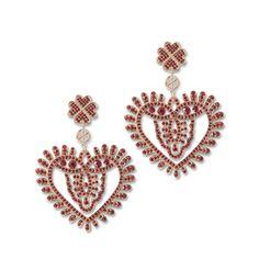 Náušnice červené srdcia Heart Ring, Brooch, Shoe Bag, My Favorite Things, Luxury, Diamond, Rings, Handmade, Stuff To Buy