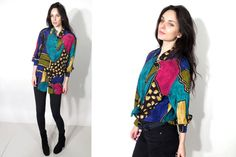 Vintage 80's Colorful Abstract Button Down slouchy Shirts by Ramaci